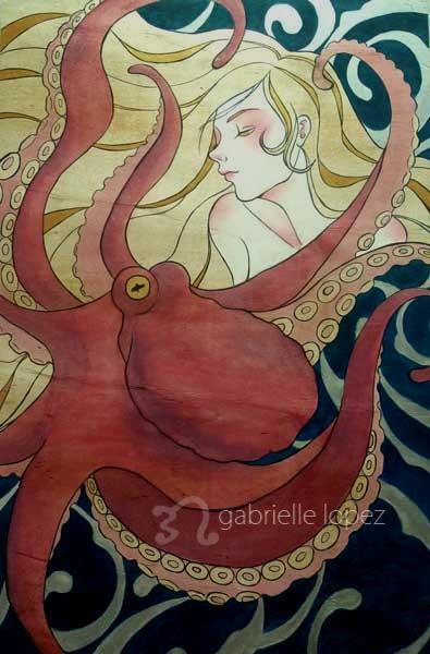 In the Quiet Sea  [静かの海で], 2.6' x 4', 2012, Acrylic & varnish on wood
