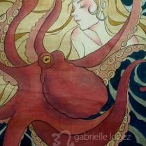 In the Quiet Sea [静かの海で], 2012, 2.6′ x 4′, acrylic on wood