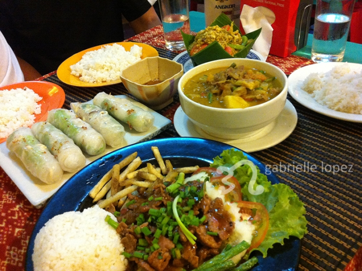 Spring Rolls, Fish Amok, Khmer Curry, and Beef LocLak. Mmm-mmm.