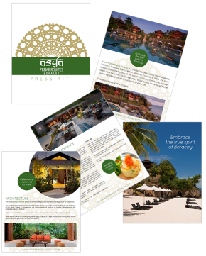 Layout & design for the Asya Premier Suites Press Kit