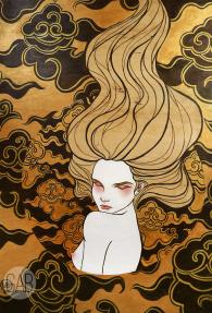 Tsugomori 「晦」, 2015, 2.6′ x 4′, acrylic on wood