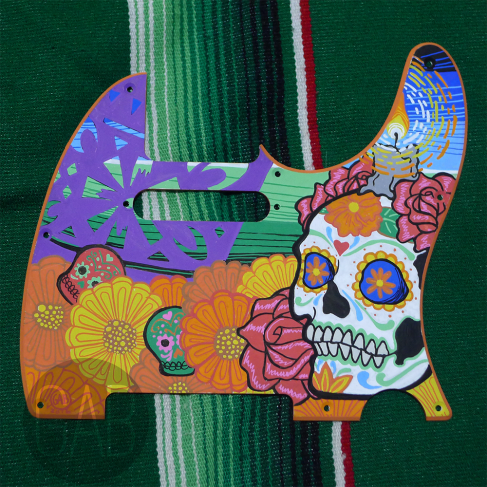 Azúcar, Guitar pickguard, Paint markers, 2016