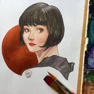 "Phryne, 7""x9"", Watercolour and graphite, 2017"
